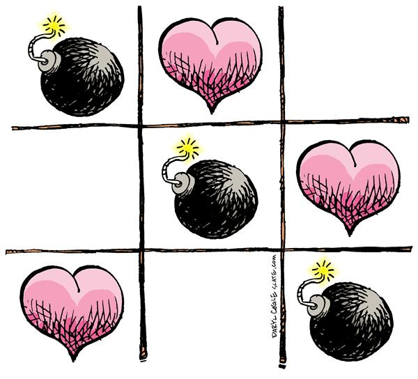 Valentine Violence © Daryl Cagle,MSNBC.com,Tic Tac Toe, hearts, bombs, game, terrorism, war,love