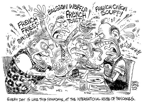 International House of Pancakes © Daryl Cagle,MSNBC.com,French Toast, French Bread, French Fries, French Onion Soup, Belgian Waffles, German Chocolate Cake, Restaurant, Iraq, food, war, Freedom Fries, IHOP, International House of Pancakes, support, UN, United Nations