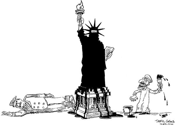 Painting Liberty © Daryl Cagle,MSNBC.com,Statue of Liberty, Saddam, Iraq, war, burqa, burka, Islam,paint