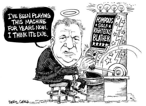 Bennett Slot Machine © Daryl Cagle,MSNBC.com,Gambling, Empower America, Bill Bennett, conservative, slot machine, video poker, casino, vice, compulsive gambling, republican, premier, British Columbia