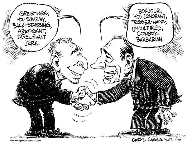 Bush Meets Chirac © Daryl Cagle,MSNBC.com,President, France, Bush, Chirac, G8, summit, U.N., United Nations, Jacques, George, hand shake, smarmy, back-stabbing, arrogant, irrelevant, jerk, greetings, bonjour, ignorant, trigger-happy, uncultured, cowboy-barbarian, cowboy, barbarian