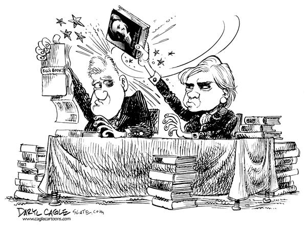Hillary Clinton Book © Daryl Cagle,MSNBC.com,president, Living History, Monica, Monica, Lewinsky, bruise, Hillary, Bill, Clinton, hit, head, black eye, signing, author, adultery, cheater, president, sales