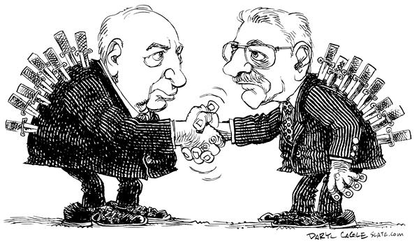 Sharon, and Abu Mazen © Daryl Cagle,MSNBC.com,Ariel, Israel, Palestine, Palestinian, Mahmoud, Abbas, handshake, agreement, swords, knives, knif, back, Middle East, mideast, conflict, terror