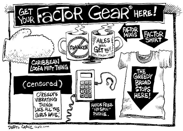 Factor Gear © Daryl Cagle,MSNBC.com,Bill, OReilly, Fox, News, cable, television, tv, Factor, gear