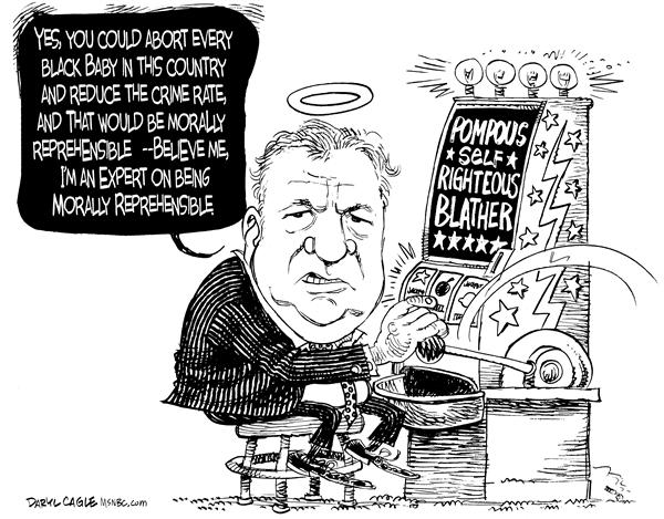 Bennett Reprehensible © Daryl Cagle,MSNBC.com,Bill Bennett, abortion, race, black, african american, gambling, slot machine, radio, baby, morally, reprehensible, crime rate