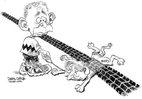 Miers Squished © Daryl Cagle,MSNBC.com,dog, harriet miers, tie, track, Bush, Charlie Brown, Peanuts, car, Associate Justice, resignation, White House Counsel, squished, ran over