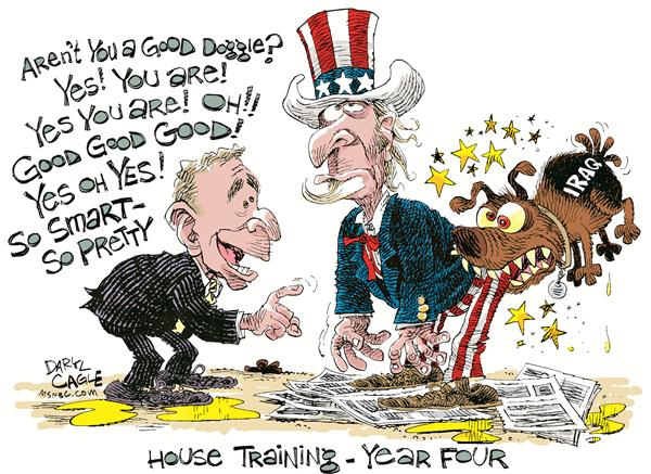 House Training   Year Four © Daryl Cagle,MSNBC.com,president Bush, dog, iraq, house training, uncle sam, newspaper, poop, pee, bite, year four, good, war, mideast, Middle East