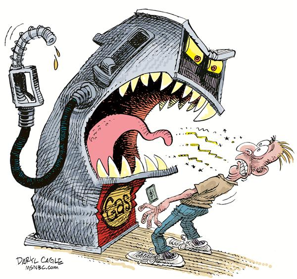 Gas Pump Bite © Daryl Cagle,MSNBC.com,gas, gasoline, pump, price, energy, consumer, bite, aggressive, petroleum