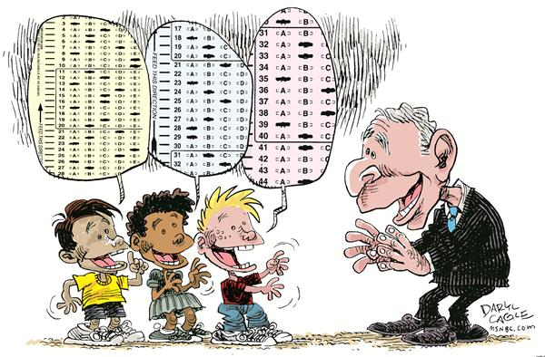 No Child Left Behind © Daryl Cagle,MSNBC.com,school,education,test,testing,no child left behind,NCLB,department of education,mandate,president Bush
