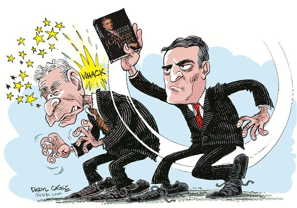 George Tenet Book © Daryl Cagle,MSNBC.com,CIA, Central Intelligence Agency, Iraq, George Bush, book, At the Center of the Storm, War, Saddam, Hussein