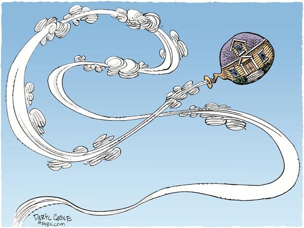Housing Balloon Color © Daryl Cagle,MSNBC.com,house, home, housing, bubble, balloon, economy, building, industry, housing industry, housing prices, real estate