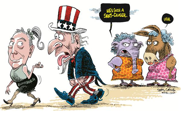 Bloomberg Appeal © Daryl Cagle,MSNBC.com,Michael Bloomberg, bloomberg, mayor, new york, presidential, republican, democrat, independent, donkey, elephant, GOP, party, campaign