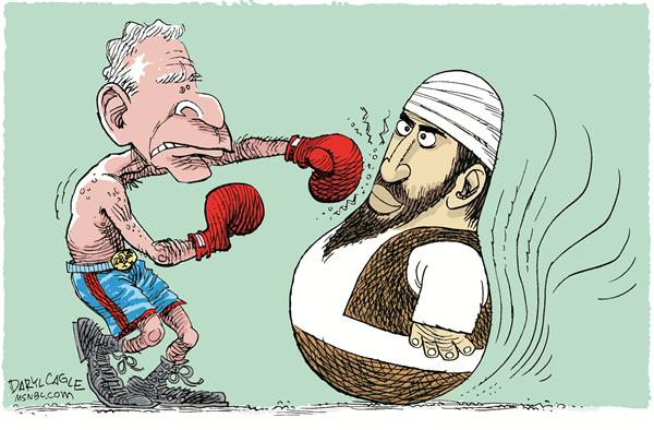 Bush Osama Terror Bopper © Daryl Cagle,MSNBC.com,Terrorism, Osama Bin Laden, Usama, Bin Laden, bopper, clown, toy, inflate, inflatible, baloon, boxing, gloves, Bush, President