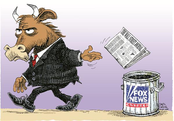 Wall Street Journal Sale - Fox COLOR © Daryl Cagle,MSNBC.com,Dow Jones, Wall Street Journal, Rupert Murdoch, Bull, newspaper, Fox, Fox News Channel, News Corporation, Financial, news