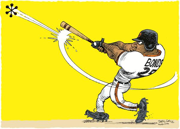 Barry Bonds © Daryl Cagle,MSNBC.com,Barry Bonds, home run, baseball, bat, asterisk, hall of fame, record, Hank Aaron, Babe Ruth