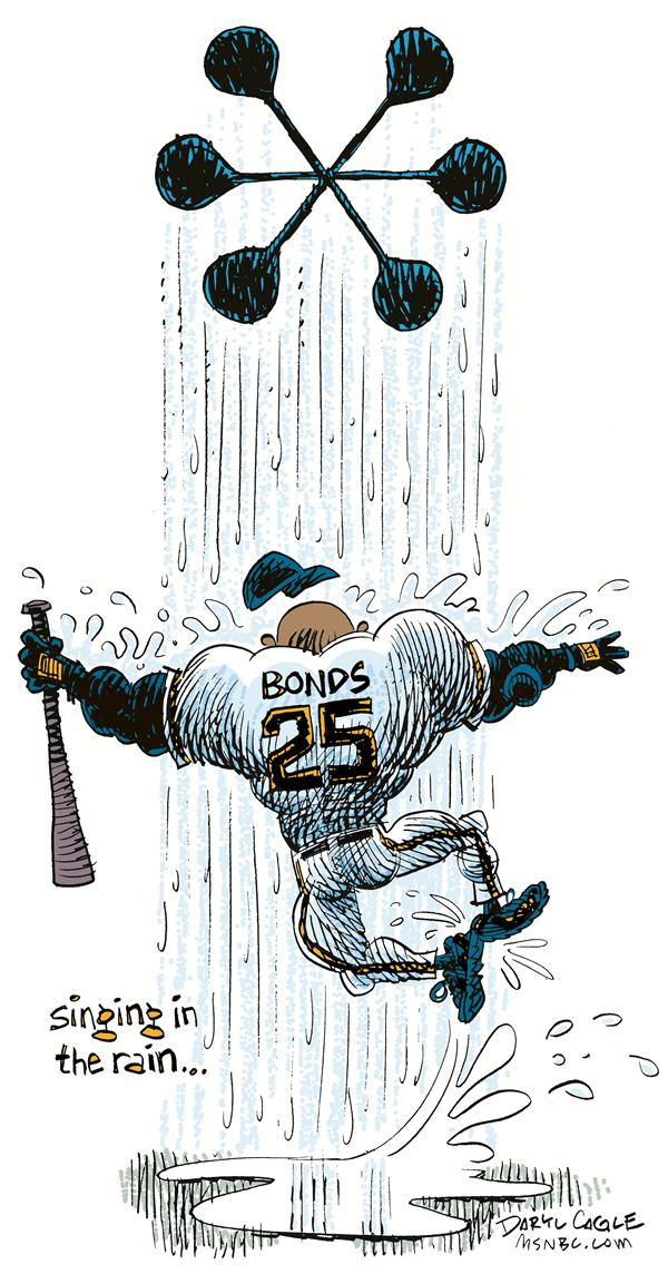 Bonds Singing in the Rain © Daryl Cagle,MSNBC.com,Barry Bonds, Baseball, home run, 756, Han Aaron, steroids, asterisk, *, Gene Kelley, Singing in the Rain, Movie, Musical