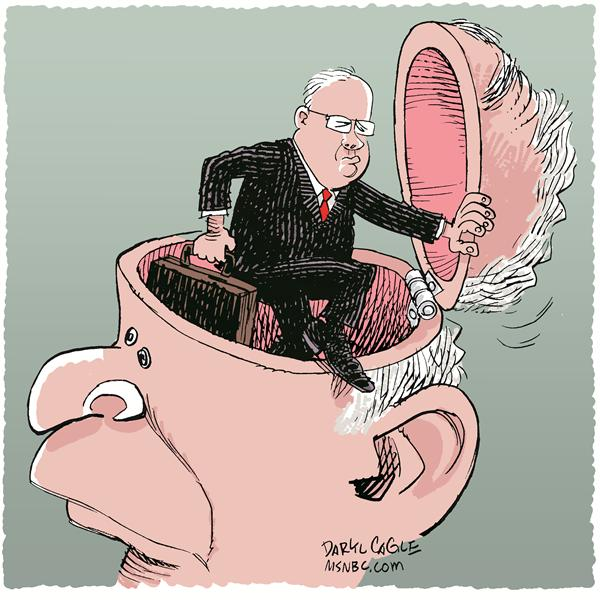 Rove Resigns Color © Daryl Cagle,MSNBC.com,Karl Rove, Bush, brain, President, resignation, resign
