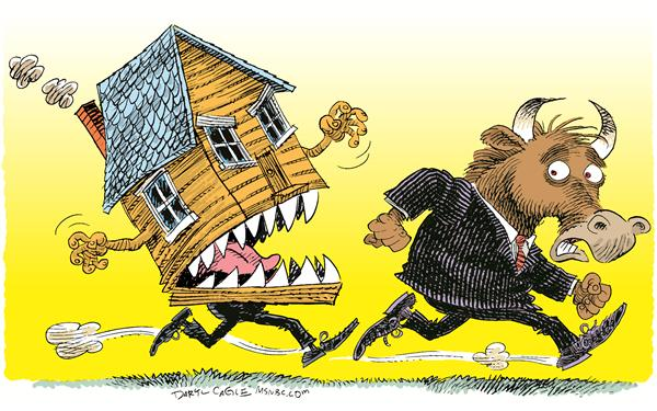 Mortgages and Wall Street © Daryl Cagle,MSNBC.com,bull, wall street, finance, house, mortgage, mortgages, hedge fund, Morgan Stanley, crash, stock market, foreclosure, chase