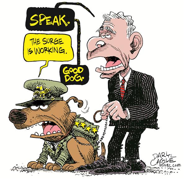 Iraq Report Color © Daryl Cagle,MSNBC.com,General Petraeus, dog, general, president Bush, report