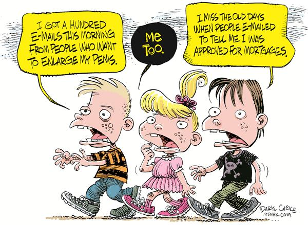 E mail and Kids © Daryl Cagle,MSNBC.com,Email, e-mail, mortgage, penis, enlarge, children, junk mail, junk, spam