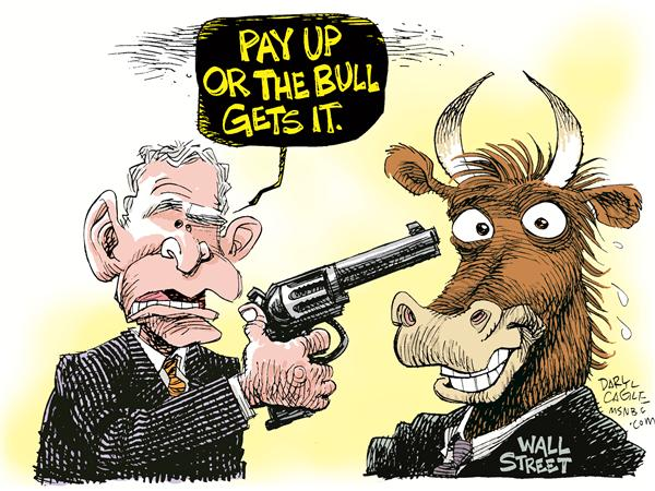 Wall St Bailout Pitch © Daryl Cagle,MSNBC.com,wall street, stock market, bull, president george w. bush, gun, revolver, shoot, bailout