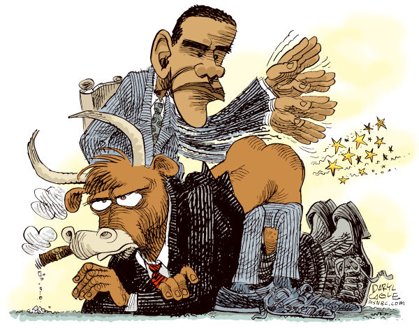 Obama Spanks Wall Street © Daryl Cagle,MSNBC.com,Barack Obama,bull,stock market,Wall Street,economy,Bailout,Banks,business,finance