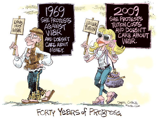 College Tuition Hikes - 40 Years Color © Daryl Cagle,MSNBC.com,College, tuition, economy, budget, hippie, hippy, 1969, 2009, forty years, peace sign, fashion, progress