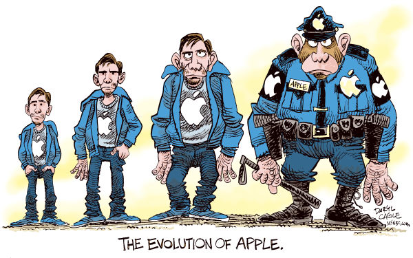 The Evolution of Apple Computer Color © Daryl Cagle,MSNBC.com,Justin Long,PC vs Mac,commercial,Gizmodo.com,iPhone,police,evolution,Darwin,monkey,apes,stolen property,journalism,search warrant
