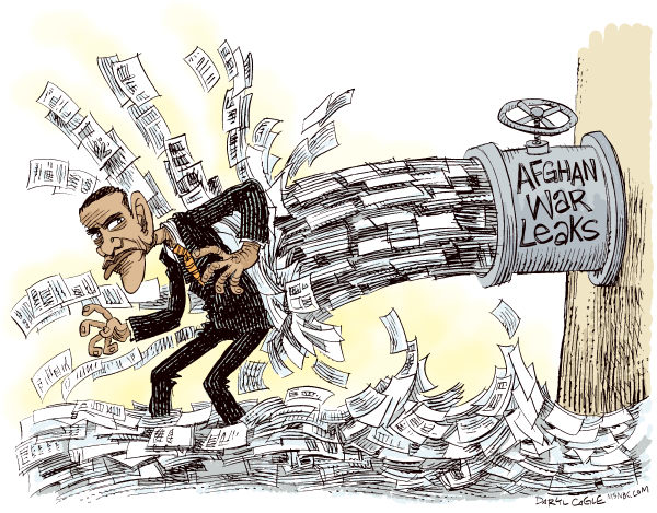 Afghan War Leaks and Obama COLOR © Daryl Cagle,MSNBC.com,Military,Afghanistan,war,leaks,wikileaks, Julian Assange,Barack Obama,President,pipe,faucet,flood,paper,documents,