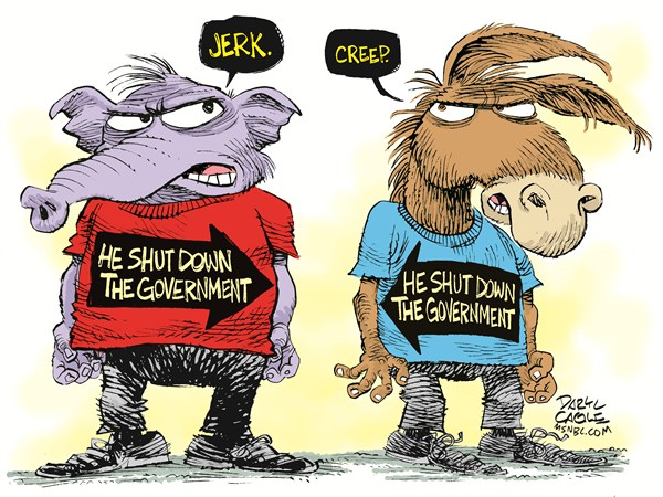 Government Shut Down © Daryl Cagle,MSNBC.com,Elephant, GOP, republicans, tea party, tea, election, Donkey, Democrat, Govenment Shut Down, Continuing Resolution, Budget