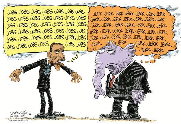 Obama GOP and Jobs COLOR © Daryl Cagle,MSNBC.com,Barack Obama,president,elephant,GOP,Republican,Democrat,jobs,stimulus,economy