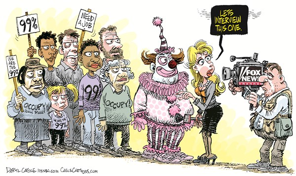 Daryl Cagle - MSNBC.com - Occupy Fox News COLOR - English - occupy Wall Street, Occupy, Fox news, clown, TV, media