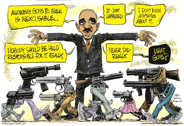 Holder and Walking Guns COLOR &#169; Daryl Cagle,MSNBC.com,Eric Holder, Attorney General, Fast and the Furious, walking guns, congress, hearings, FBI