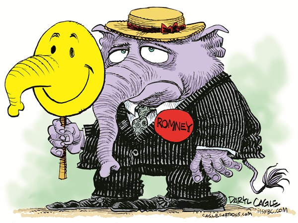 GOP Happy Face © Daryl Cagle,MSNBC.com,elephant, GOP, republican, convention,mask,happy face
