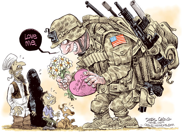 Afghanistan Should Love Us © Daryl Cagle,MSNBC.com,Afghanistan,Soldier,Afghans,love,flowers,chocolate,war,USA