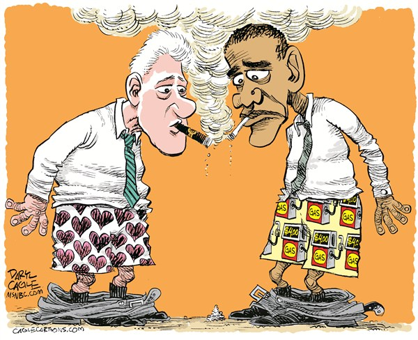 Clinton and Obama Boxers © Daryl Cagle,MSNBC.com,Bill Clinton,Barack Obama,gasoline,gas,shorts,boxers,hearts,gas pump,energy,cigarette,cigar