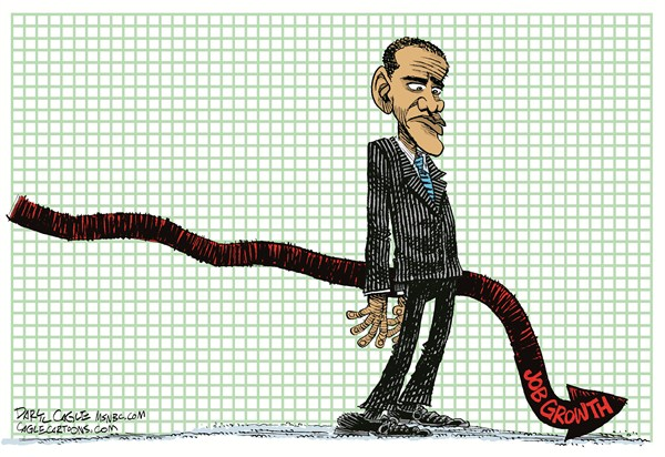 Impotent Jobs Growth © Daryl Cagle,MSNBC.com,limp,impotent,penis,barack Obama,President,graph,employment,unemployment,erectile dysfunction,ED,jobs growth