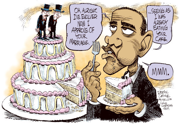 Obama Evolves on Gay Marriage © Daryl Cagle,MSNBC.com,Barack Obama, gay marriage, evolution, evolved, wedding cake, grooms, homosexual, lesbian, LGBT community