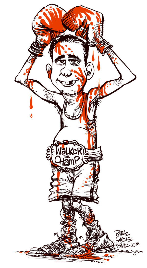 Scott Walker the Champ © Daryl Cagle,MSNBC.com,Scott Walker,recall,election,governor,Wisconsin,boxing,blood