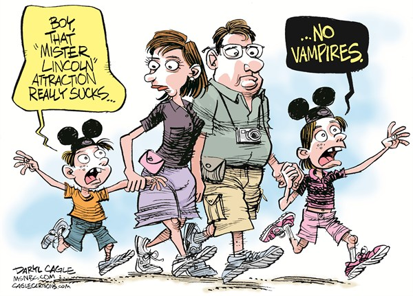 Daryl Cagle - MSNBC.com - Lincoln, Vampires and Disneyland COLOR - English - Great moments with Mr. Lincoln,Abraham Lincoln,Disneyland,Disneyworld,Disney,mouse ears,hat,vacation,movie,Abraham Lincoln Vampire Hunter