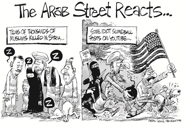 The Arab Street © Daryl Cagle,CagleCartoons.com,Arab Street,anti-American protests,riots,YouTube,the Innosense of Muslims,blasphemy,Syria