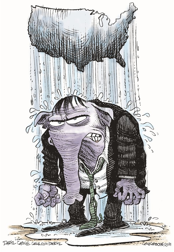 GOP Raincloud © Daryl Cagle,CagleCartoons.com,Republican,rain cloud,elephant,America,map,nation,weather,wet,water,Mitt Romney,Barack Obama,Campaign 2012,election
