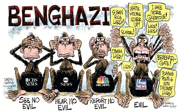 Benghazi Monkeys © Daryl Cagle,CagleCartoons.com,CBS News,NBC News,ABC News,television,cable,media,Benghazi,Libya,monkeys,see no evil,hear,report,speak,Benghazigate,Susan Rice,Fox News ,benghazi coverup