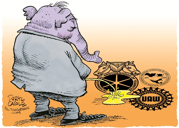 Right to Work Pee  Daryl Cagle,CagleCartoons.com,ssGOP,Republican,elephant,urine,union,United Auto Workers,UAW,AFL-CIO,Teamsters,pee