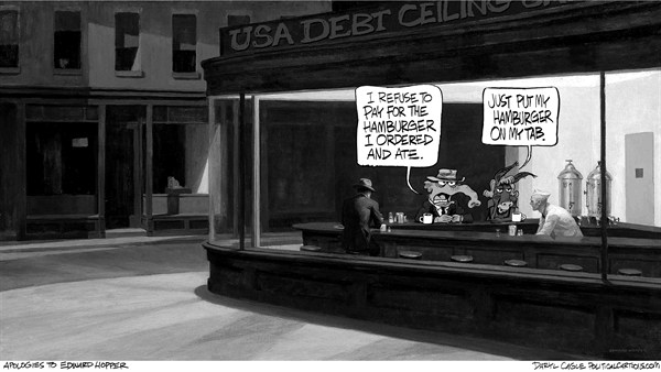 Garyscale Hopper and the Debt Ceiling Nighthawks  Daryl Cagle,CagleCartoons.com,Edward Hopper, Nighthawks, debt ceiling, cafe, elephant, donkey, Republican, Democrat, Debt Ceiling, GOP