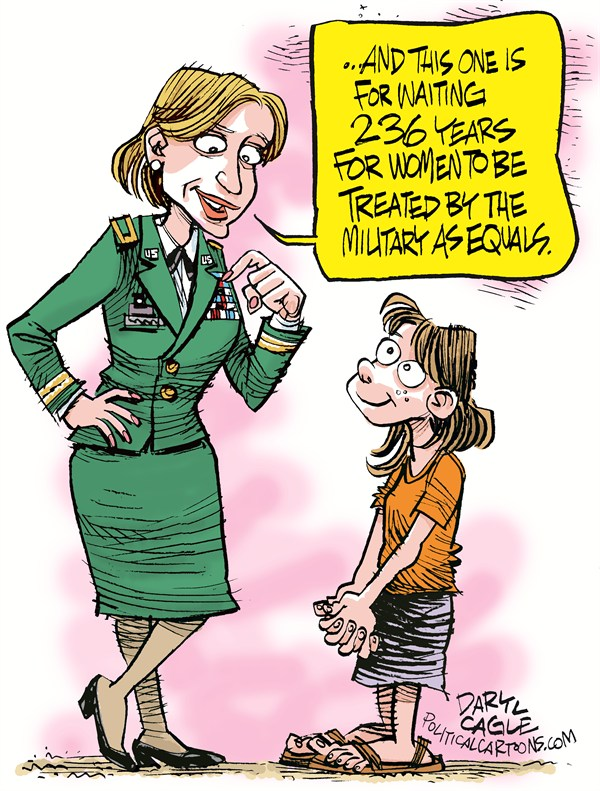 Women in Combat  Daryl Cagle,CagleCartoons.com,Army,air force,navy,marine corps,military,Secretary of Defence Leon Panetta,women,medals.children,equal rights,women in combat