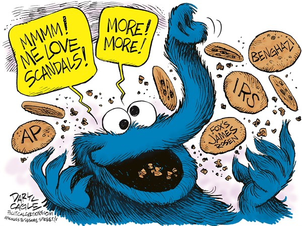 Republican Scandal Cookie Monster © Daryl Cagle,CagleCartoons.com,Sesame Street, Cookie Monster, Scandal, Fox news, James Rosen, AP, Associated Press, cookies, television, media, childrens television workshop, TV, Benghazi, AP records, obama scandals,AP records, congress, eric holder, obama scandals, republicans