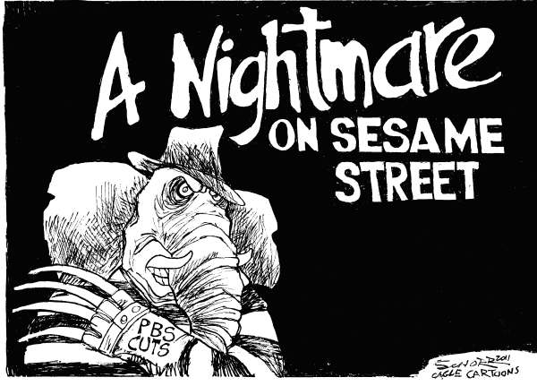 Bill Schorr - Cagle Cartoons - Nightmare on Sesame Street - English - PBS, NPR, GOP, Freddy, horror, GOP cuts, Tea Party, Sesame Street, taxes, spending, government, economy