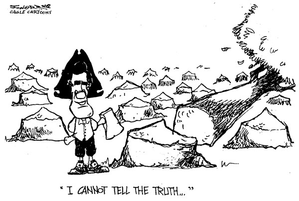 Mitt Washington © Bill Schorr,Cagle Cartoons,romney,george washington,cherry tree,chop,truth,lies