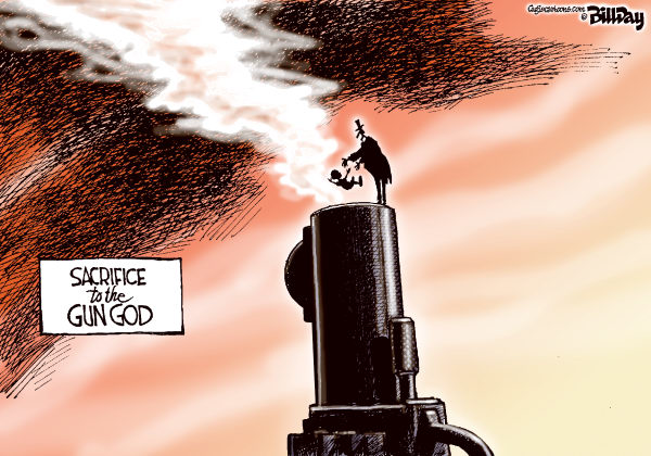 Bill Day - Cagle Cartoons - Gun God - English - guns, stand your ground, gunlaws, children, human sacrifice